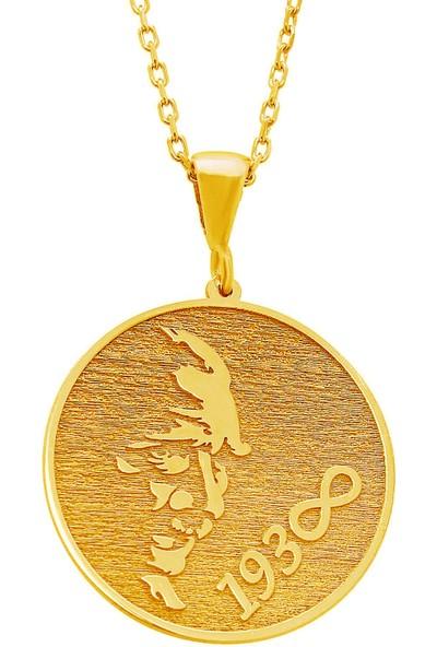 Gümüşçü Altın Kaplama Atatürk Silüeti Plaka Gümüş Kolye