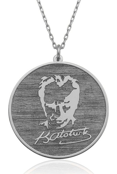 Gümüşcü Atatürk Silüeti Ve İmzalı Plaka Gümüş Kolye ST031031