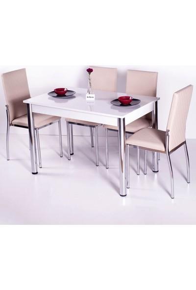 İndirimzade Mutfak Masa Takımı Yemek Masası Masa Sandalye - Açık Kahve