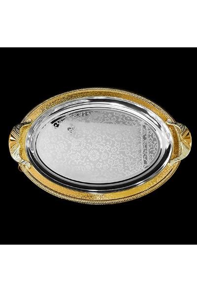 Alara Gümüş Oval Tepsi, Altınlı Kararmaz Orta Boy. S2219.2A