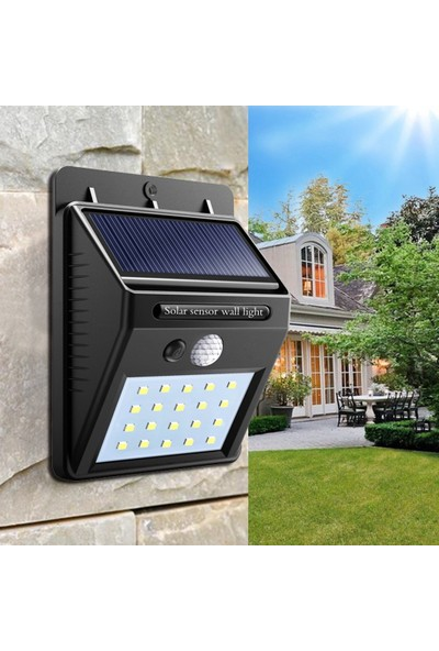 Solar Güneş Enerjili Şarj Olabilen 20 Ledli Bahçe Lambası