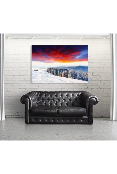 Tek Tablo Kış Dağ Manzarası Görkemli Günbatımı Kanvas Tablo