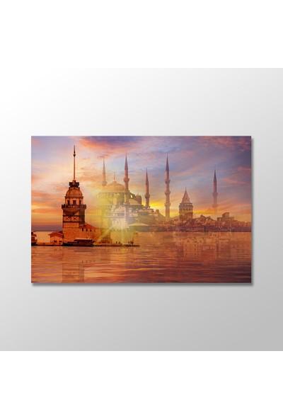 Tek Tablo İstanbul Kız Kulesi, Galata Kulesi, Sultanahmet Camii Kanvas Tablo