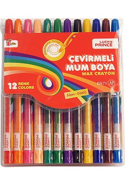 Lucky Prince Çevirmeli Mum Boya 12 Renk