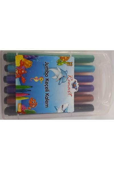 Renart 12 Renk Jumbo Keçeli Kalem Plastik Kutulu