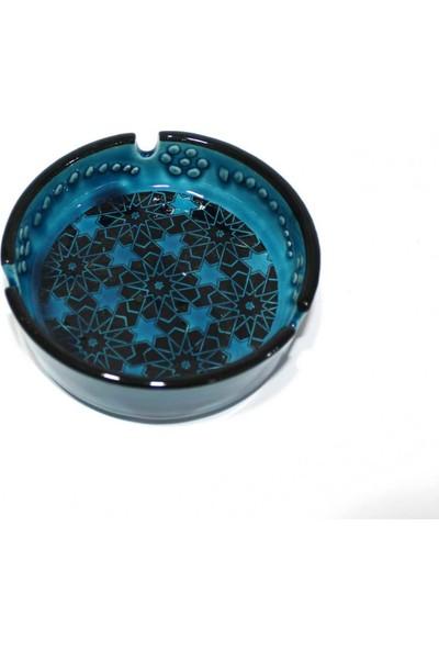 İlbay 13 cm Mavi Turkuaz Renkli Çini Küllük