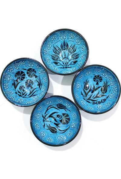 İlbay 13 cm Mavi Turkuaz Çini Kase Seti