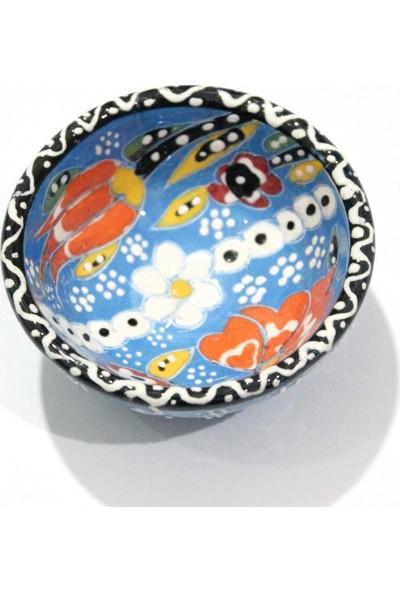 İlbay 8 cm Kütahya Dantel Çini Kase - Mavi