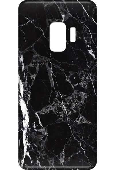 Mobilteam Samsung Galaxy S9 Siyah Mermer Silikon Telefon Kılıfı