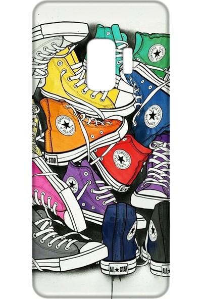 Mobilteam Samsung Galaxy S9 Renkli Ayakkabılar Silikon Telefon Kılıfı
