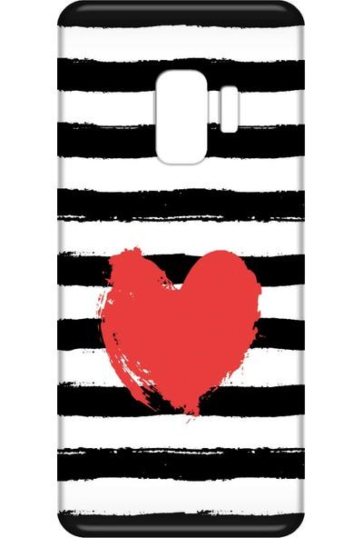Mobilteam Samsung Galaxy S9 Kırmızı Kalp Silikon Telefon Kılıfı