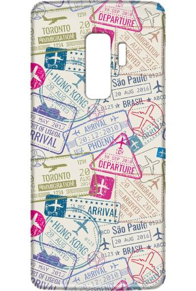 Mobilteam Samsung Galaxy S9 Plus Pasaport Damgaları Silikon Telefon Kılıfı