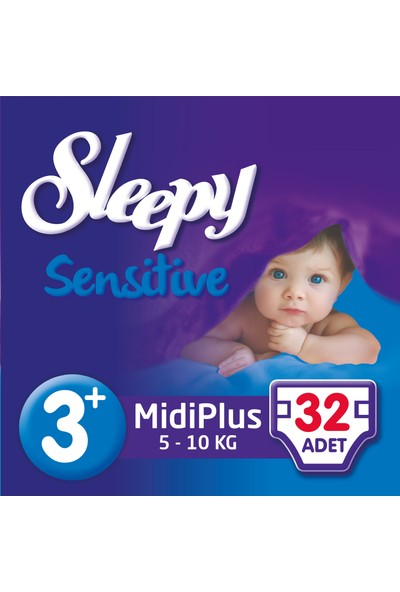 Sleepy Sensitive Bebek Bezi 3+ Beden Midi Plus Jumbo Paket (32 Adet)