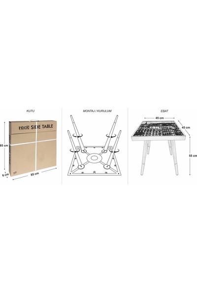 Olunca Metal Doku Tasarım Modern Ahşap Yan Sehpa Kare 45x45 cm