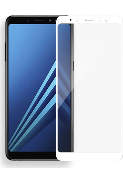 Teleplus Samsung Galaxy A8 2018 Tam Kapatan Cam Ekran Koruyucu Beyaz