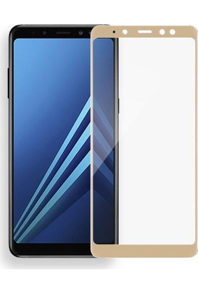 Teleplus Samsung Galaxy A8 2018 Tam Kapatan Cam Ekran Koruyucu Gold