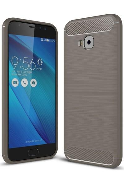 Teleplus Asus Zenfone Live (ZB553KL) Özel Karbon ve Silikonlu Kılıf Gri