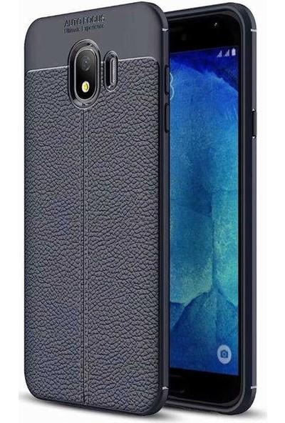 Teleplus Samsung Galaxy J4 Deri Dokulu Silikon Kılıf Lacivert + Nano Ekran Koruyucu