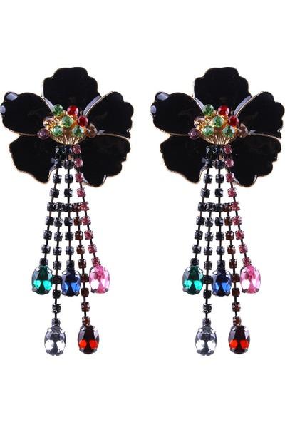 Myfavori Siyah Çiçek Küpe Renkli Taşlar Avrupa Takı Modelleri