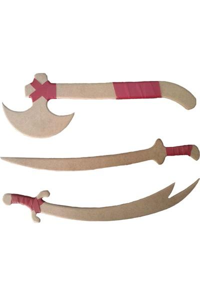 Evmodek Diriliş Ertugrul Oyuncak Tahta Set 3 Kılıç Balta Zülfikar