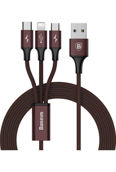 Baseus Rapid 3in 1 3A Micro+Type C+ iPhone Hızlı Şarj Kablo