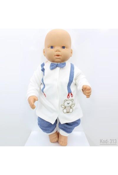 Nurhas Ayıcıklı Papyonlu Bebek Takımı K313 62 Cm 0-3 Ay