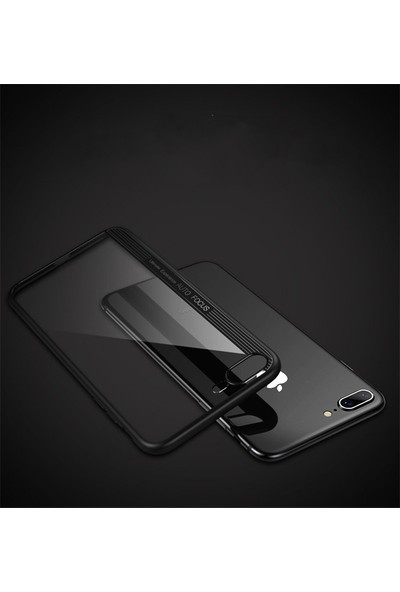 Moguu Apple iPhone 8+ Plus Siyah ince Sert ve Slikon Ultimate Kılıf