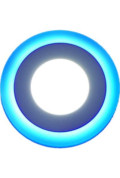 Global 12w Çift Renkli 3 Fonsiyonlu Sıva Üstü Armatür 12 Watt 6500k Beyaz Işık+ 4 watt Kenar Şerit Mavi Işık