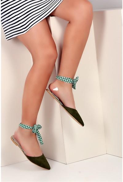 Pembe Potin Yeşil Nubuk Kadın Casual Ayakkabı