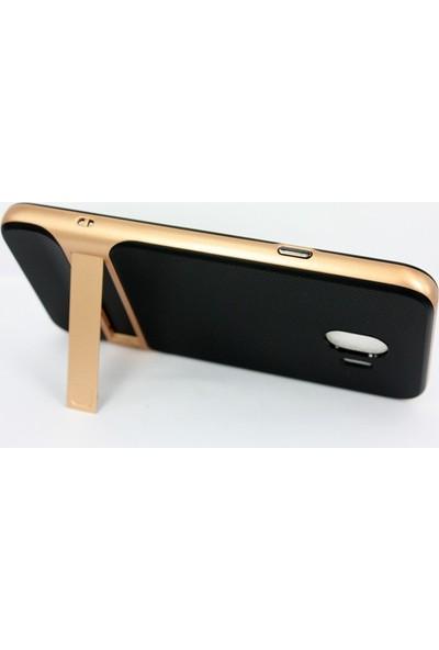 Case 4U Samsung Galaxy J4 Kılıf Standlı Korumalı Silikon Sert Arka Kapak - Altın