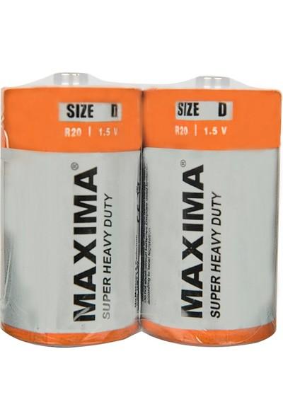 Maxima R20 1.5V D Çinko Karbon (Super Heavy Duty) Büyük Boy Pil 2'li paket