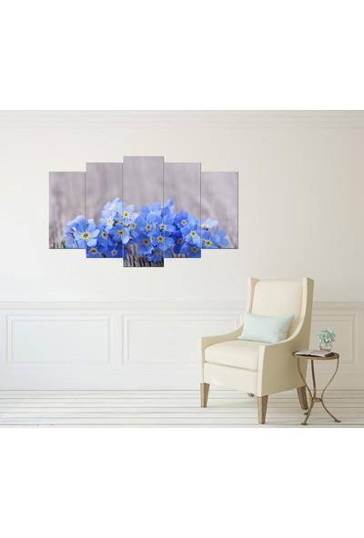 Pastel Tablo Mavi Çiçekler Dekoratif 5 Parça Mdf Tablo