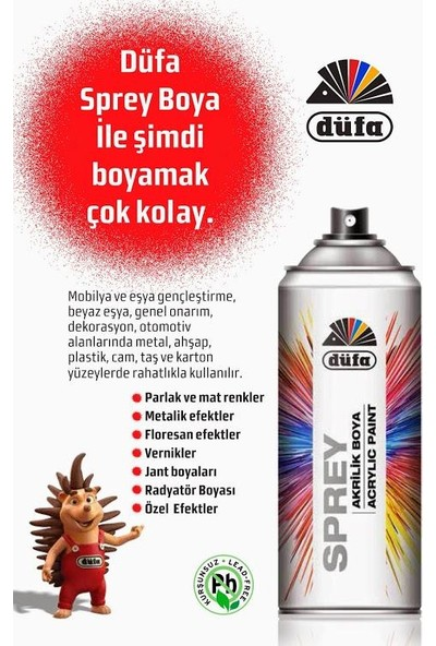Düfa Akrilik Sprey Boya Efekt Renkler 400 mL