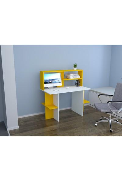 Rafline Brand Çalışma Masası Beyaz Sarı
