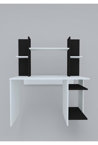 Rafline Jaunty Çalışma Masası Beyaz-Siyah