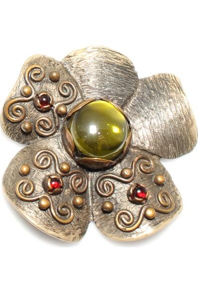 Nusret Takı 925 Ayar Gümüş Bronz Karışımı Çiçek Şeklinde Desenli Sarı Taşlı Kolye Ucu