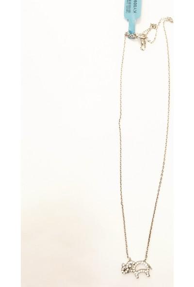 Tyelo Takı 925 Ayar Gümüş Taşlı Fil Kolye