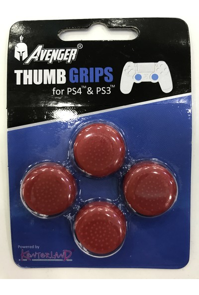Kontorland Avenger Ps4 Analog Koruyucu Lastik 4 Lü Set (Kırmızı)
