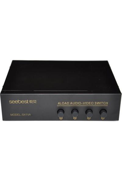 Platoon PNT-041 Audio-Video 4 Port Anahtarlı Ses ve Görüntü Çoklayıcı Switch 4 Giriş 1 Çıkış