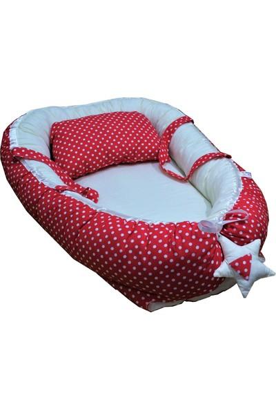 Baskaya Babynest Bebek Uyku Yatağı Ve Yastağı Kırmızı