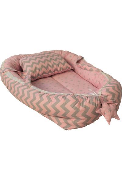 Baskaya Babynest Bebek Uyku Yatağı Ve Yastağı Zikzaklı Pembe