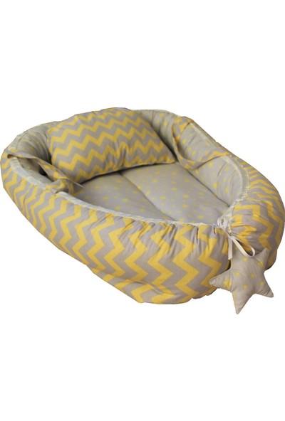 Baskaya Babynest Bebek Uyku Yatağı Ve Yastağı Zikzaklı Sarı