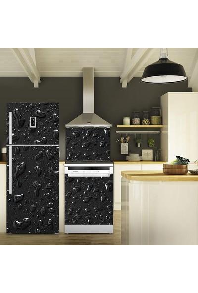 Tilki Dünyası Siyah Su Damlacıkları Buzdolabı, Bulaşık Makinesi ve Ocak Arkası Yapışkanlı Folyo 0040
