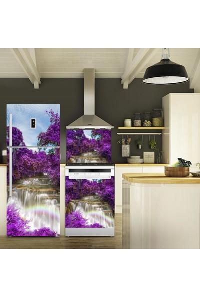Tilki Dünyası Mor Ağaçlar Buzdolabı, Bulaşık Makinesi ve Ocak Arkası Yapışkanlı Folyo 0053