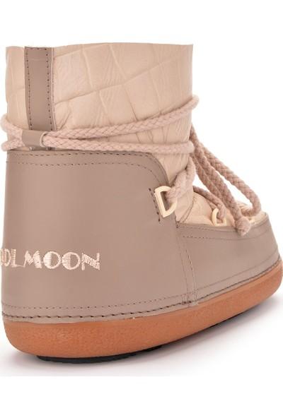 Cool Moon Hakiki Deri İçi Kürk Bayan Kar Botu 251001 Bej