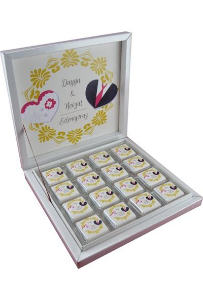 Navrem Nişan Nikah Söz Düğün Çikolatası Çifte Kalp Konsepti 48 Kutu