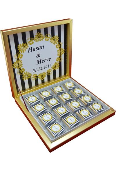 Navrem Nişan Nikah Söz Düğün Çikolatası Çizgili Konsept 48 Kutulu