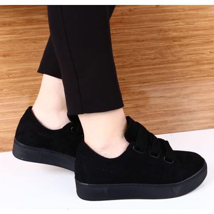 92fd72b928306 Dgn K1040-B Kadın Kalın Bağcıklı Trend Sneakers Spor Ayakkabı Siyah Süet