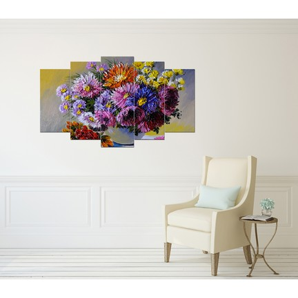 Pastel Tablo Yağli Boya çiçek Buketi Dekoratif 5 Parça Mdf Fiyatı