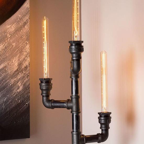 Dekorle Şamdan Modeli Vanalı 3'lü Flüt Ampullü Endüstriyel Boru Lambader - DLLD01109